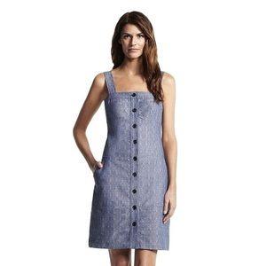 Blue Denim Button Tank Short Casual Dress